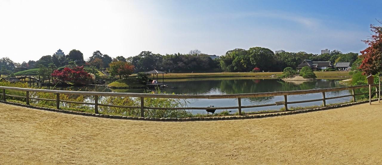 s-20161113 後楽園今日の慈眼堂付近から眺めた園内ワイド風景 (1)