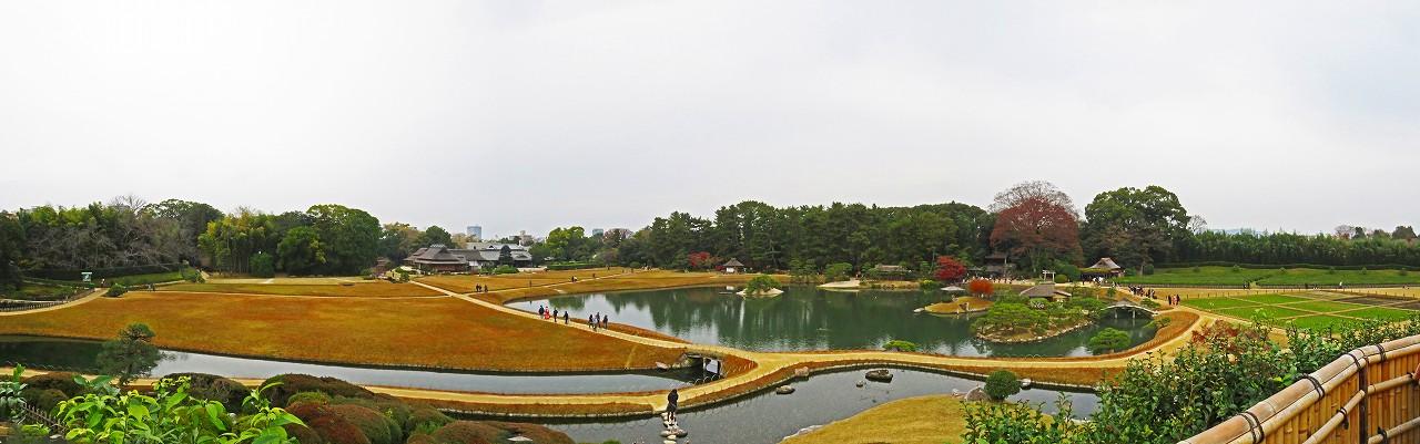 20161204 後楽園今日の唯心山頂上から眺めた園内ワイド風景 (1)