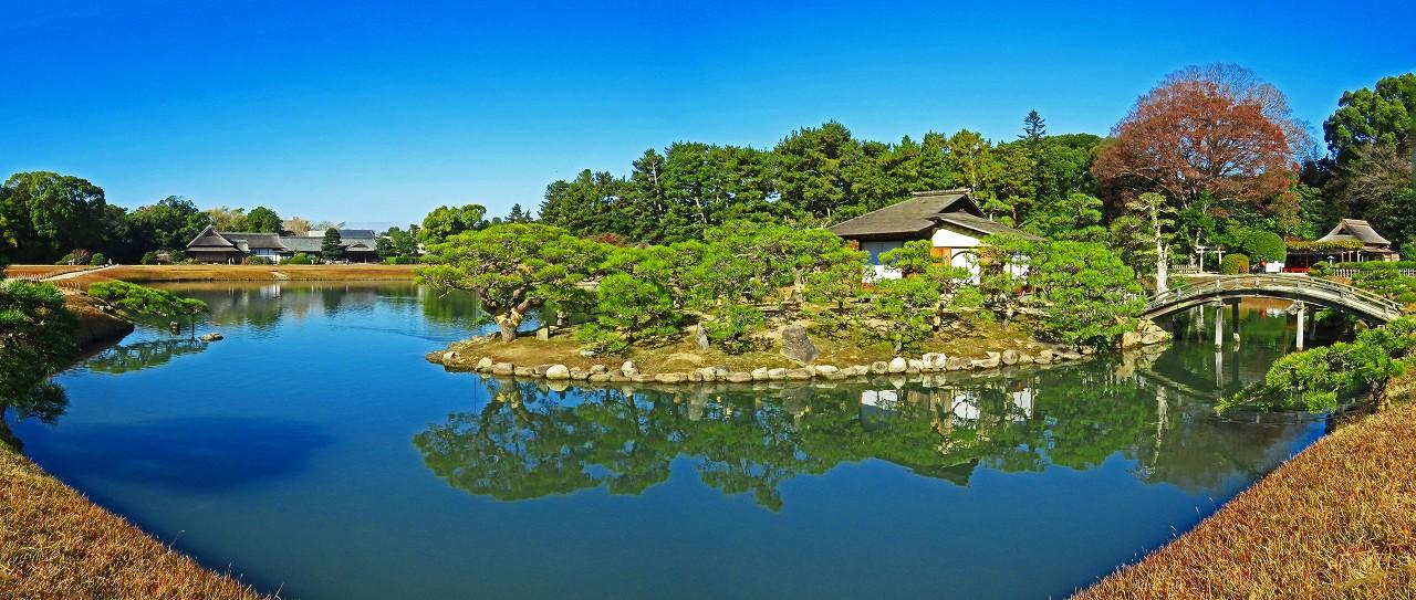 20161207 後楽園今日の沢の池初冬の中島茶屋のワイド風景 (1)