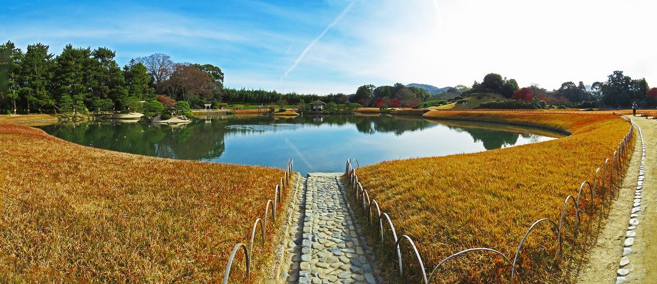 20161212 後楽園今日の沢の池越しに眺める黄葉した芝の園内ワイド風景 (1)