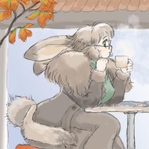 秋カフェのラビットガール