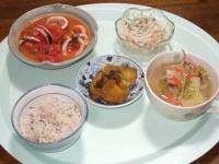 12/6 夕食 イカとトマトのにんにく炒め、もやしの明太マヨ和え、安納芋の塩昆布煮、野菜スープ