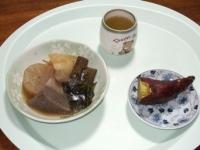 12/9 昼食 おでんの残り、焼き芋1/2