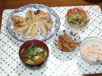 12/9 夕食 米粉ギョーザ、中華くらげ、きんぴらごぼう、ニラ玉味噌汁、雑穀ごはん