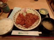 浜松町 春きゃべつ 日替わりランチ(ロースカツ&アジフライ)(2016/12/6)