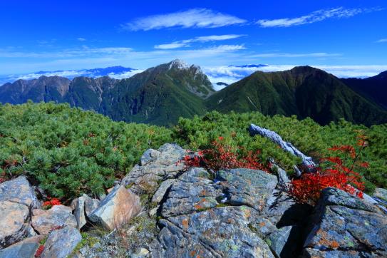 東駒とアサヨ峰を彩る紅葉と雲
