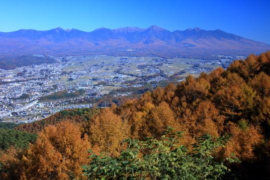 峠の茶屋から望む諏訪盆地と八ヶ岳