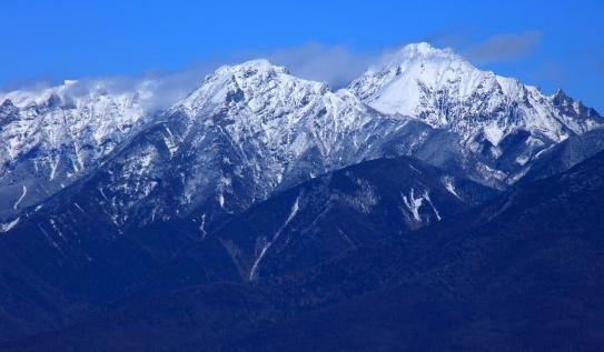 冠雪の赤岳と阿弥陀岳