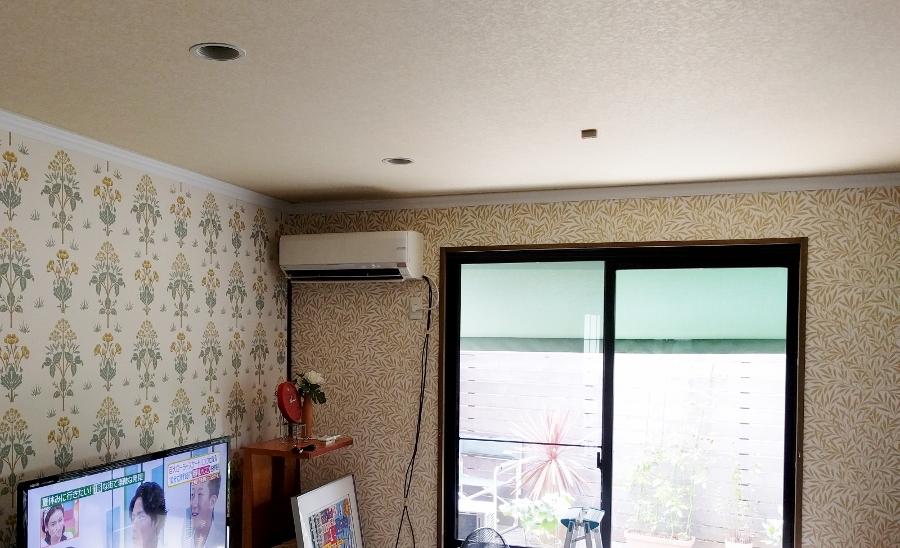 モリス壁紙と掃出し窓