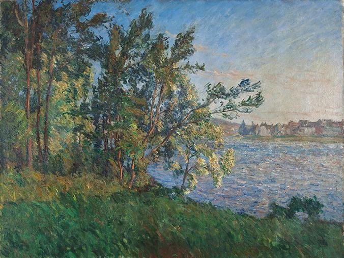 クロード・モネ《ヴェトゥイユの河岸からの眺め、ラヴァクール(夕暮れの効果)》1880年頃