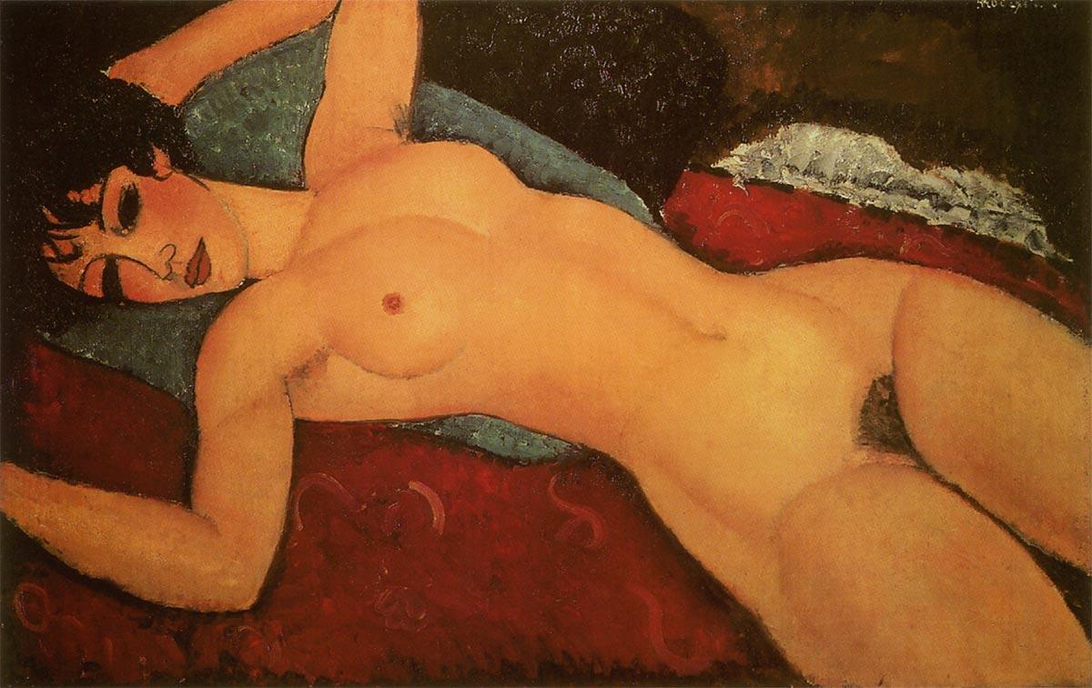 モディリアーニ【腕を広げて横たわる裸婦】