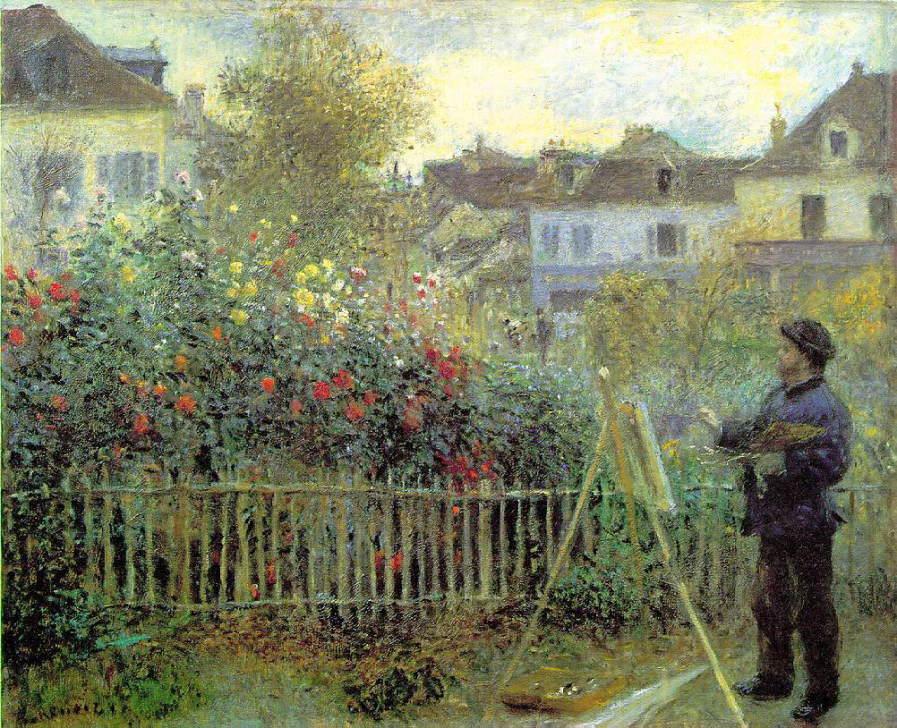 庭で描いているクロード・モネ ルノワール
