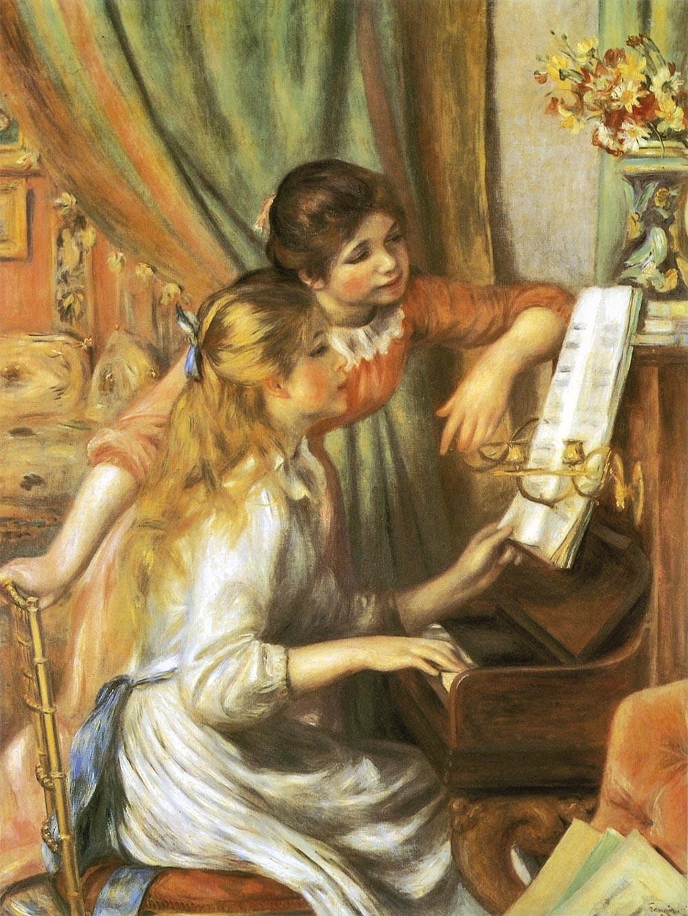 ピアノに寄る娘たち ルノワール
