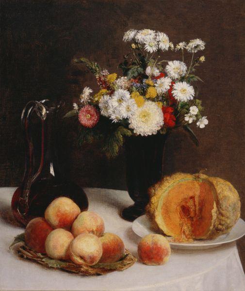 花と果物、ワイン容れのある静物 ラトゥール