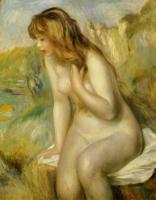 岩に座る浴女 ルノワール