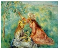 草原で花を摘む少女たち ルノワール