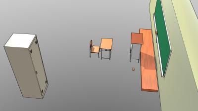椅子と机と教卓と黒板と掃除用具入れ1