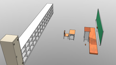 椅子と机と教卓と黒板と掃除用具入れとロッカー