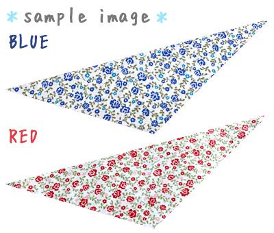 犬用バンダナ 白ベース 小花柄 赤&青
