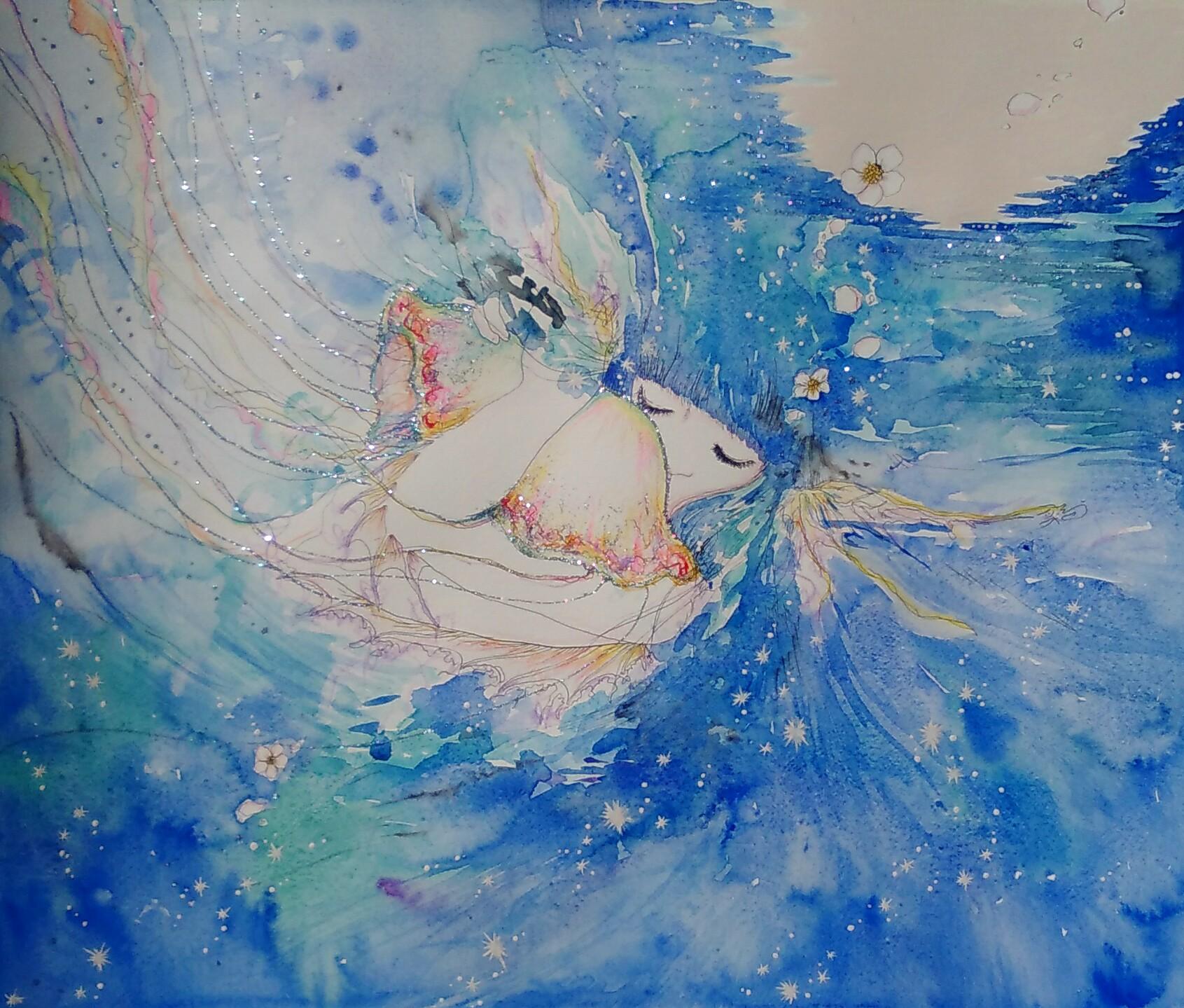 人魚 くらげ 月 海