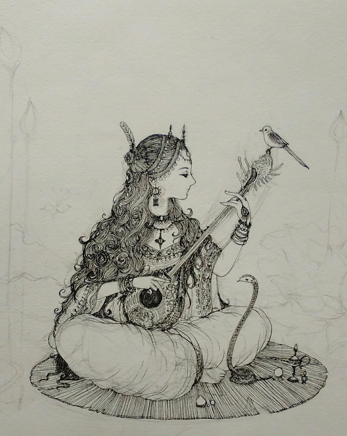 ペン ロングヘア 美女 エキゾチック 楽器 ハス