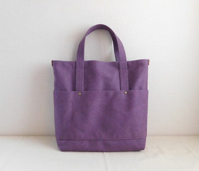 トラディショナルトートバッグ ヴィンテージ帆布 紫色