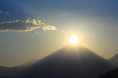 初日の出とダイアモンド富士