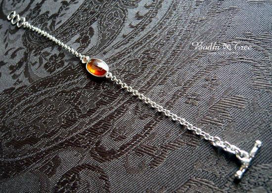 オレンジカイヤナイト(カヤナイト)&ダイヤモンド・SV925ブレスレット