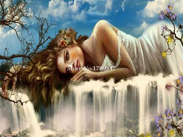 眠れる森の美女と滝の絵画diyダイヤモンド丸いドリル樹脂クラフトラインストーン貼り付けたホーム装飾的なキャンバスの絵画