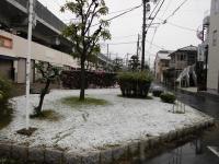 雪で覆われた駅前