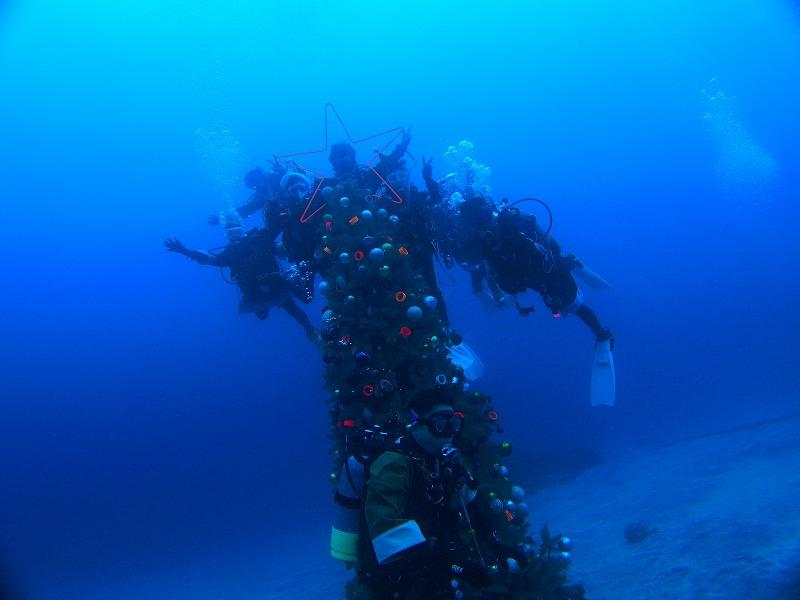 水中クリスマスツリーとサンタ