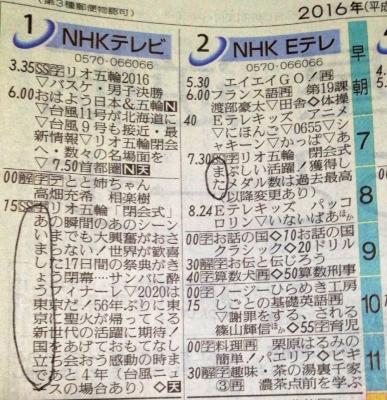 リオ開会式 NHK 新聞 縦読み