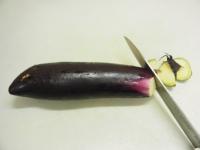 蒸しなすのツナサラダ、なす皮04