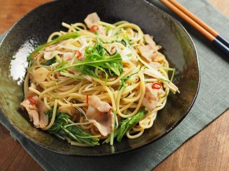 豚ばら肉と水菜のぽん酢パスタ34