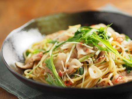 豚ばら肉と水菜のぽん酢パスタ30