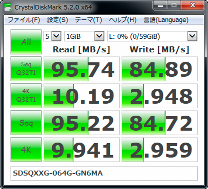 【CrystalDiskMark 5.2.0】SDSQXXG-064G-GN6MA