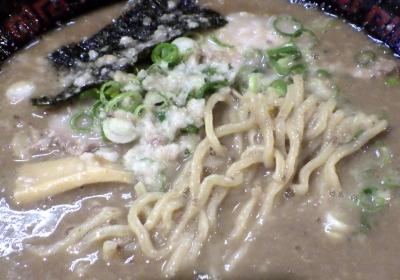 無鉄砲 大阪店 とんこつラーメン こってり(2016年)(麺のアップ)