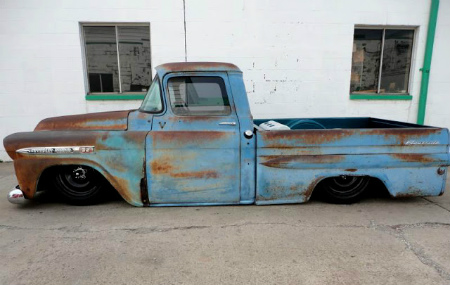 1959 Chevy Apache Fleetside Air ride Bagged - Slammed - Air ride - Patina - 247Autoholic Blog Truck Tuesday