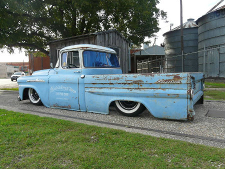 1959Chevy Apache fleetside longbed rat rod pick yup truck Patina bagged - 247autoholic blog von Skip (2)