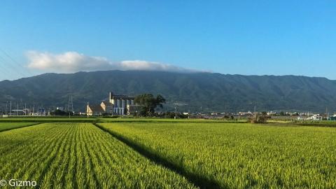 県道81号線から見た耳納連山