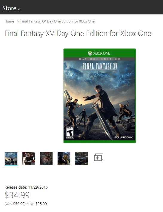 Final Fantasy XV Day One Edition for Xbox One