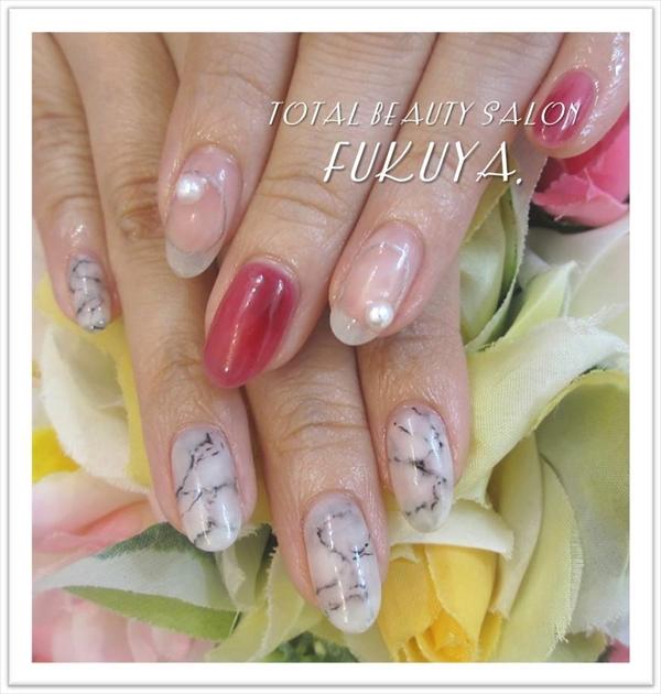 Happy Wedding(^^♪披露宴用に大理石×クリアボルドー