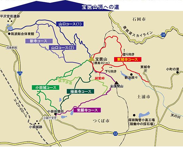 宝篋山トレッキングマップに今回の登山コース(赤線)を重ねてみた
