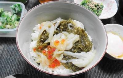 烏賊ソーメン、イクラ、がごめ昆布入北海道ネバネバ丼