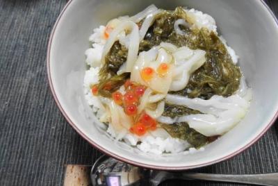 烏賊、オクラ、がごめ昆布入北海道ネバネバ丼