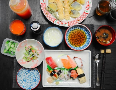 寿司に天ぷらセット