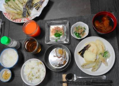アユと季節の野菜天 豆ご飯