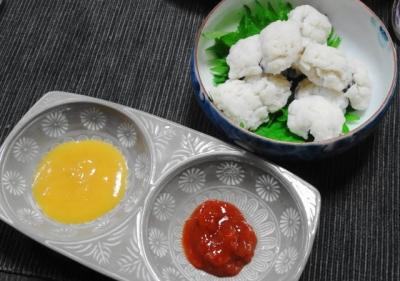 ハモの湯引き 梅肉・芥子味噌