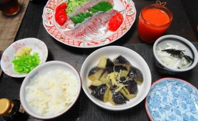 アジの刺身 一汁三菜