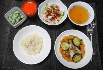 ラタトゥイユとリゾットの夕食